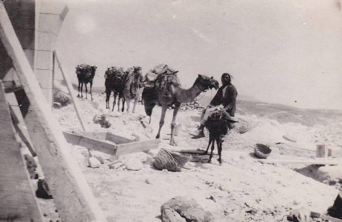 """عمال ودقاقون من الحي الشرقي بنقلون الحجارة على الجمال لبناء دير ومدرسة دون يوسكو """" الساليزيان """" التي تم افتتاحها رسميا عام 1904 على هضبة جبال الناصرة"""